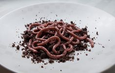Raspberry Jello Worms On A Bed Of Chocolate Doughnut Crumbs and 19 other Halloween Snacks that look disgusting but taste great. Halloween Desserts, Plat Halloween, Gross Halloween Foods, Buffet Halloween, Postres Halloween, Recetas Halloween, Creepy Halloween Party, Halloween Dinner, Halloween Cakes