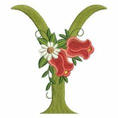 Rose Alphabet Y embroidery design Christmas Scenes, Christmas Animals, Flower Alphabet, Vintage Quilts, Calla Lily, Tropical Flowers, Floral Embroidery, Blue Bird, Machine Embroidery Designs