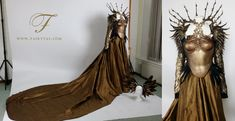 """""""Complete Valkyrie Rider Costume for client! I used 10 meters of golden silk for the skirt. The chest piece is attached to a semi leather c…"""""""