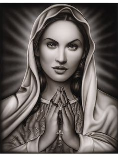 Praying Mary by Spider Fine Art Print Tattooed Virgin Mary Lady of