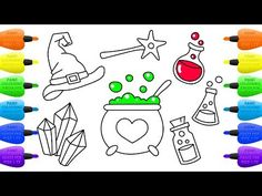 How to Draw Set of Witch  Magic Wand, Hat, Cauldron, Potion, Ball, Crystals and Broom  - Vidinterest