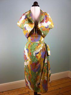 Original Vintage Rare 1940's Silk Hawaiian sarong dress with bolero crane print