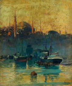"""Franz Roubaud """"View of the Istanbul harbor with the Suleiman Mosque"""""""