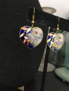 Heart earrings, Vintage enamel earrings, enamel heart earrings, cloisonne earrings, cloisonne  heart earrings, vintage enamel earrings E126 by DuckCedar on Etsy
