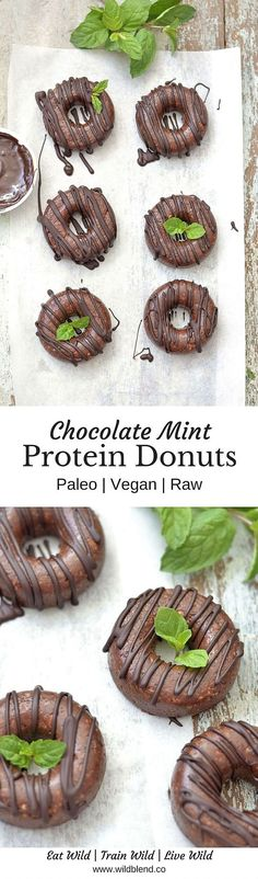Raw Chocolate Mint Protein Donuts | via http://wildblend.co | Paleo - Vegan - Grain Free - Dairy Free