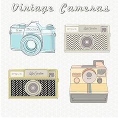 """Vintage cameras from Angie Makes... check out her site, it is AMAZING! What she calls """"clip art"""" is actually gorgeous works of little fun art pieces!"""