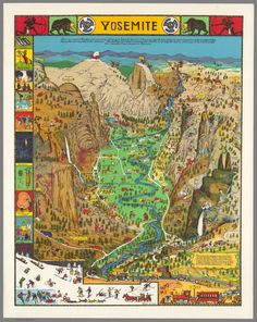 1949 printing of the Yosemite map, vintage travel poster USA