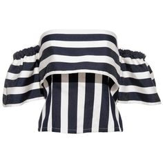 FRS Stripe Off-shoulder Shirt ❤ liked on Polyvore featuring tops, bell sleeve tops, polyester shirt, off shoulder shirt, stripe shirt and striped shirt