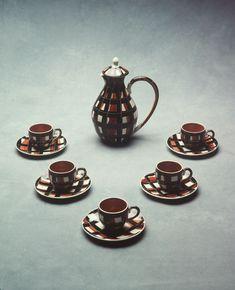 Coffee set by Martin Boyd Pottery Coffee Service, Coffee Set, Science Art, South Wales, Plaid Pattern, Earthenware, Tweed, Sydney, Tea Pots