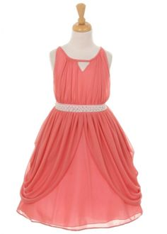 de5d0156d Coral Matte Chiffon Dress with Rhinestone and Pearl Sash Flower Girl Dress  (Available in Sizes in 5 Colors) - Flower Girl Dresses - GIRLS