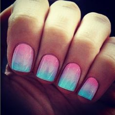 blue pink nails ombre cotton candy gel nails.