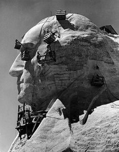Construction of George Washington section of Mt. Rushmore Monument, 1940. Photo by Alfred Eisenstaedt