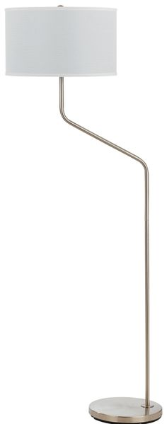 "Brushed Steel Offset Arm Floor Lamp Textured Linen Drum Hardback Lampshade 60""H"