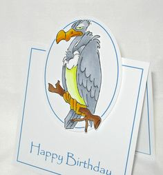 Ai Zoo Crew Bluebird of Happiness from Art Impressions ... Handmade Birthday Card ... great for over the hill or masculine cards.