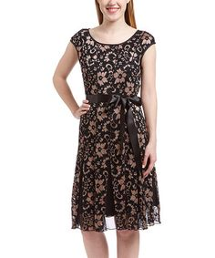 Another great find on #zulily! Gold & Black Floral Lace A-Line Dress - Plus by SL Fashions #zulilyfinds
