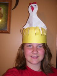 Chicken hat we made for storytime. The children loved it.