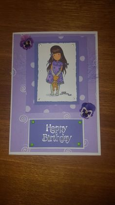 Birthday card using #gorjuss stamp and #spectrumnoir pens