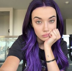 OverTone's purple coloring conditioner for dark hair sparked the eggplant hair trend. Girl With Purple Hair, Dark Purple Hair, Lilac Hair, Dark Hair, Purple Hair Styles, Purple Lilac, Hair Color Streaks, Hair Dye Colors, Eggplant Hair