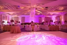 One of my favorite photos of the Ocean Ballroom dressed up with fabric draping, gobos projected on the dance floor and stunning floral arrangements.  Photo by Sieber Studio.