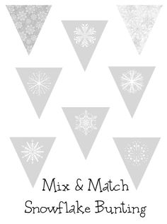 Free Printable Winter/Snowflake Bunting from Over the Big Moon!  Mix and Match Flags to create a super cute Winter Bunting!