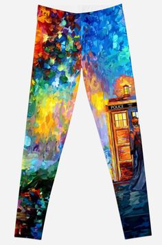 Mysterious Man at beautiful Rainbow Place Leggings @pointsalestore #tee #tshirt #clothing #painting #abstract #drawing #ink #art #tardis #doctorwho #phonebox #phonebooth #badwolf #starrynight #vangogh #halloween #bluephone #timemachine #timetraveller #davidtennant #timevortex #strangecity