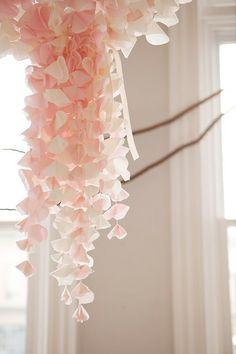 tutorial on similar looking chandelier: http://www.designsponge.com/2011/08/adorable-diy-fabric-chandelier.html