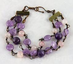 Genuine amethyst bracelet copper , purple bracelet adjustable with patinated copper and genuine rosenquartz