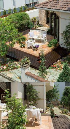 テラコッタタイルとウッドデッキのガーデンテラス。緑色の敷石はライムストーンです。|テラス|デザイン|ナチュラル|タイル|アーチ|インテリア|ガーデン|新築|創業以来、神奈川県(秦野・西湘・湘南・藤沢・平塚・茅ヶ崎・鎌倉・逗子地区)を中心に40年、注文住宅で2,000棟の信頼と実績を誇ります|