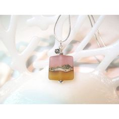 Necklace purple amber glass art lampwork bead square ($23) ❤ liked on Polyvore featuring jewelry and necklaces