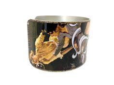 Art Nouveau Jewelry - Art Deco Bracelet - Aluminum Cuff Bracelet - Roaring 20s - Collage Art Jewelry - Mixed Media Bracelet