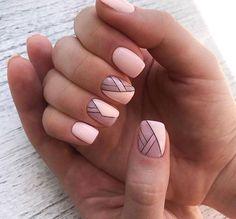 Short Nail Designs, Nail Art Designs, Nails Design, Cute Nails, Pretty Nails, Smart Nails, Line Nail Art, Feather Nails, Geometric Nail Art