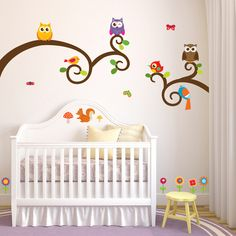 Nursery Mount wall decals - Owls and Friends on wall behind cradle!!