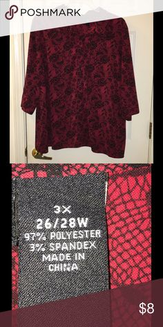 Maggie Barnes Button Down Blouse Size 26/28W Red and black lace look blouse.  Button down style.  3/4 sleeves.  From Maggie Barnes.  Size 26/28W.   Great condition.  Important:   All items are freshly laundered as applicable prior to shipping (new items and shoes excluded).  Not all my items are from pet/smoke free homes.  Price is reduced to reflect this!   Thank you for looking! maggie barnes Tops Button Down Shirts