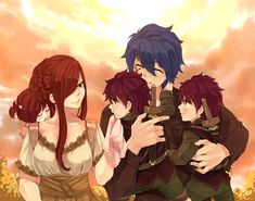 FAIRY TAIL, Jellal Fernandes, Erza Scarlet, their twins sons (headcanon named Mystogan and Simon) and daughter (Rosemary)