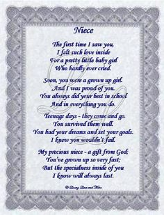 i love my niece quotes and pics | Niece poem is about a special niece. Poem may be personalized with no ...