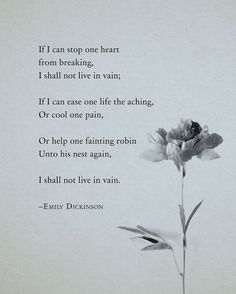 This is one of my favorite Emily Dickinson poems. It's beautiful, inspiring, and truthful. Just wonderful. Emily Dickinson Poem If I can stop one heart by Riverwaystudios Poem Quotes, Words Quotes, Life Quotes, Sayings, Vain Quotes, Selfless Quotes, Life Poems, Sad Poems, Heart Quotes