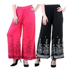 Deals and Offers on Women Clothing - NumBrave Multicolor Viscose Palazzos Combo of 2 at 74% offer