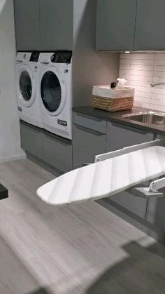 Modern Laundry Rooms, Laundry Room Layouts, Laundry Room Remodel, Laundry Room Organization, Laundry In Bathroom, Laundry Nook, Kitchen Room Design, Home Decor Kitchen, Bathroom Interior Design