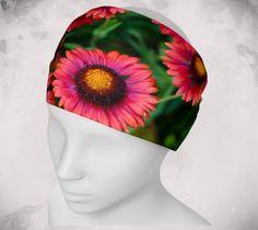 Headband - Pink Flower - Wee Dog - Yoga headband - Pilates headband - Microknit -Quick dry -Ecopoly - Pink - Daisy - Performance Fabric by WeeDogWearableArt on Etsy