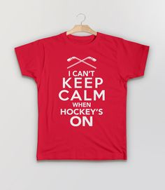 Gift for Hockey Fan T-Shirt with Keep Calm Quote. Perfect for sports fans. Pictured: Red Kids Tee Shirt