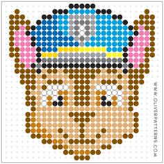 """"""" This Perler Bead Pattern will fit on a standard square template. Perler Beads, Perler Bead Art, Fuse Beads, Melty Bead Patterns, Hama Beads Patterns, Beading Patterns, Art Perle, Motifs Perler, Perler Bead Templates"""