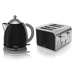 Swan Black Stainless Steel Electric 1.7L Jug Kettle And 4 Slice Toaster...