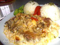 Fotorecept: Krkovička so šampiňónmi a kápiou Russian Recipes, Grains, Rice, Chicken, Meat, Polish, Vitreous Enamel, Seeds, Laughter