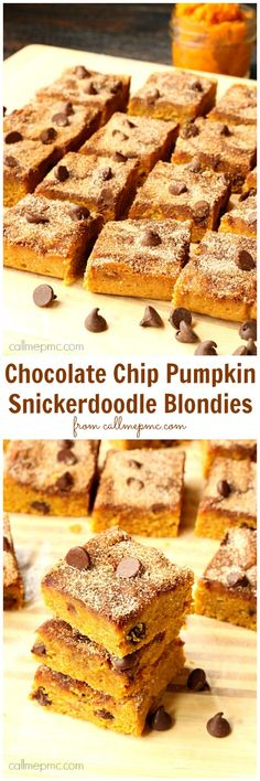 Chocolate Chip Pumpkin Snickerdoodle Blondies - Best pumpkin dessert ever! Dense and decadent, these bars are everything you want in a pumpkin dessert. These bars are more comparable to fudge than to cake.