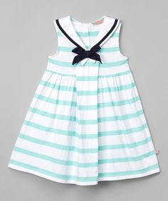 This Pistachio Stripe Sailor Babydoll Dress - Infant, Toddler & Girls is perfect! #zulilyfinds