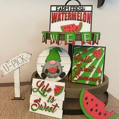 Watermelon Patch, Watermelon Decor, 3d Laser, Repurposed Wood, Tray Decor, Accent Decor, Summer Time, Wood Signs, House Warming