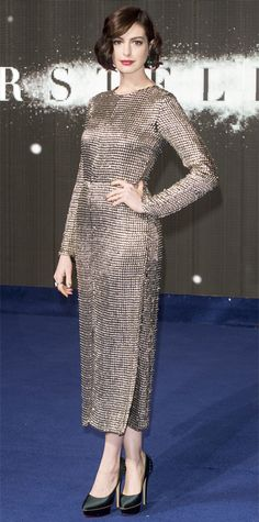 Look of the Day - October 30, 2014 - Anne Hathaway in Wes Gordon from #InStyle