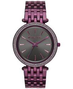 Michael Kors Women's Darci Plum Stainless Steel Bracelet Watch 39mm MK3554 - Limited Edition $250.00 A gunmetal sunray dial trimmed in smoky pavé crystals adds dark sparkle to the ultra-girly limited-edition plum Michael Kors Darci watch.