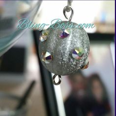 Bling Boss Silver wine glass charm with Swarovski crystals |  $8 @ Bling-Boss.com