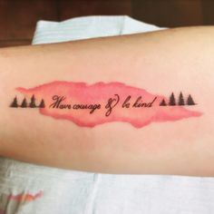 Have courage and be kind forearm watercolor tree tattoo #havecourageandbekind #cinderella #tattoo